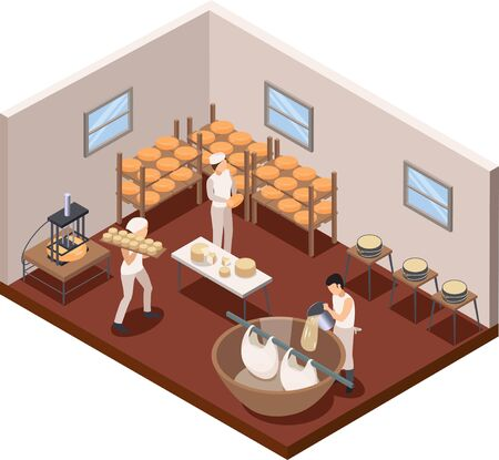 Dairy production concept with cheese making symbols isometric vector illustration