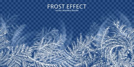 Frost effect transparent background with winter time symbols realistic vector illustration