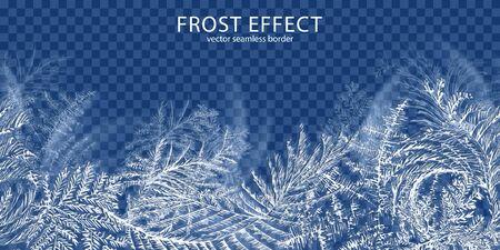 Transparenter Hintergrund des Frosteffekts mit realistischer Vektorillustration der Winterzeitsymbole