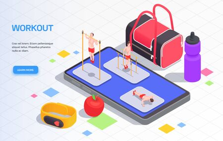 Workout isometric people background composition of editable text learn more button and small people with gadgets vector illustration Vecteurs