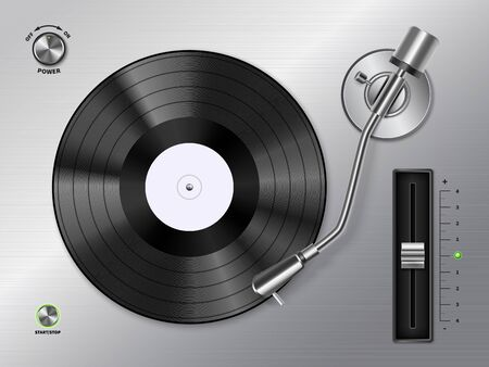Vinyl record disc playing on turntable player closeup top view realistic black white retro Ilustração