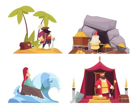 Fairy tale characters concept icons set with pirate and mermaid flat isolated vector illustration Illusztráció