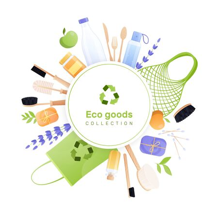Eco goods frame flat round composition with recycle pictogram and circle surrounded by eco friendly recyclable items vector illustration