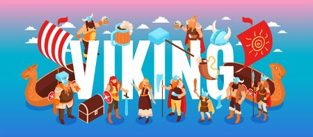 Isometric viking text composition with clouds and characters of ancient warriors and their families on gradient background vector illustration
