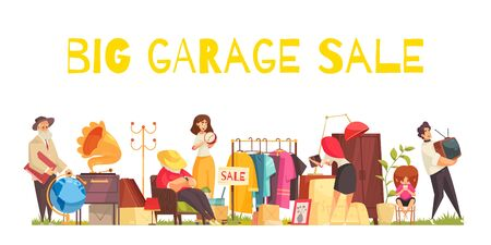 Garage sale concept with clothes utensils and furniture flat vector illustration