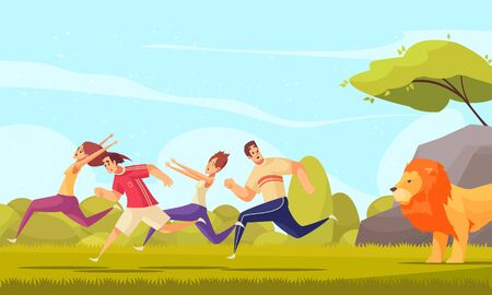 Colorful cartoon background with stressed adult people running away from lion at nature background vector illustration