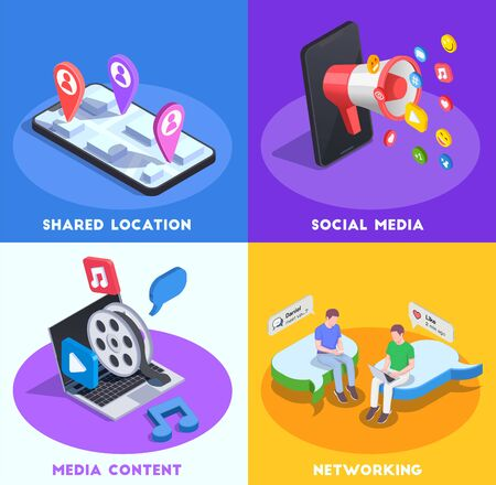 Social network isometric design concept with four compositions of conceptual images and pictogram icons with text vector illustration Ilustração Vetorial