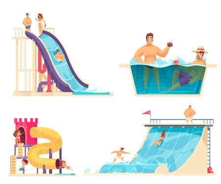Aqua park weekend holiday concept 4 comics compositions with family friends enjoying water attractions isolated