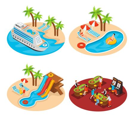 Sea cruise 2x2 design concept set of four isometric compositions with liner, south landscapes palm trees and swimming pools vector illustration