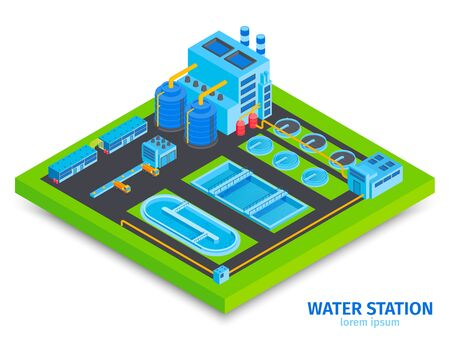 Isometric water purification technology with text and view of water processing factory station with plant buildings vector illustration