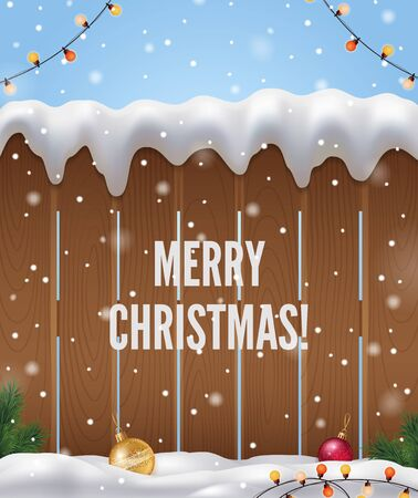 Merry Christmas realistic background with Christmas tree fence and snow vector illustration Illustration