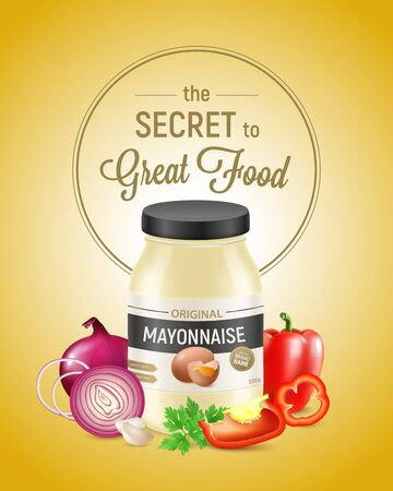 Realistic mayonnaise vertical advertising composition with packaging vegetable slices and editable logo with text