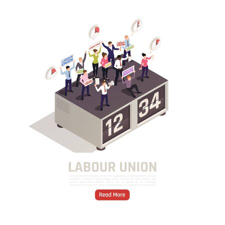 Employees with labor union members on strike protecting their wages working time rights isometric composition vector illustration