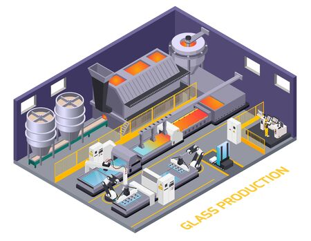 Glass production isometric composition of text and indoor scenery with production line automated conveyor with manipulators vector illustration Иллюстрация