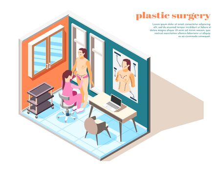 Plastic surgery isometric composition with woman consulting doctor before operation Foto de archivo - 136480133