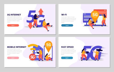 Fast speed internet 2x2 design concept set of four banners offer 5G connection