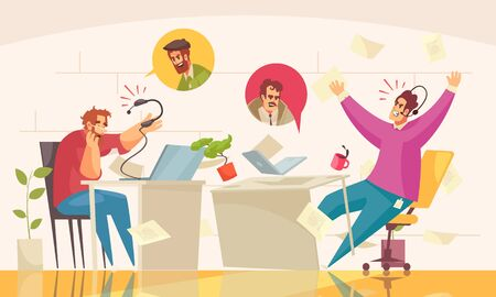 Call center real time online service flat comic composition with agitated emotional client agent conversation vector illustration