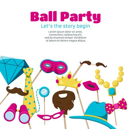 Photo booth party poster with ball party symbols flat vector illustration