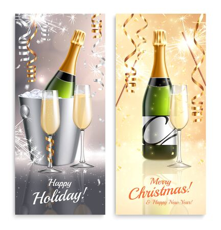 Champagne vertical banners collection with realistic images of luxury bottles with glasses ticker tape and ornate text