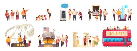 Guide excursion set of isolated doodle compositions with human characters of sightseers and places of interest
