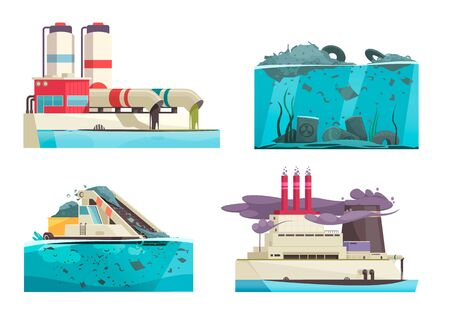Set of four isolated nature and water pollution compositions with doodle human characters and waste images vector illustration