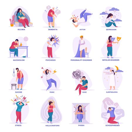 Mental disorders flat icons  bipolar disorder dementia autism bulimia depression sleepwalking hallucinations isolated Illustration