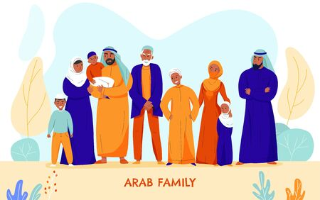 Flat and colored arabs big family composition with nine people in the family