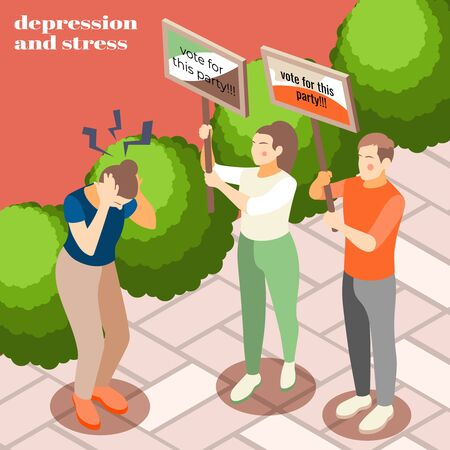 Coping with stressing you politics isometric background composition with parties campaigning activists embarrassing potential voter vector illustration