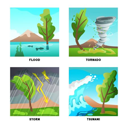 Natural disasters concept 4 flat compositions set with storm flood tornado and tsunami wave isolated