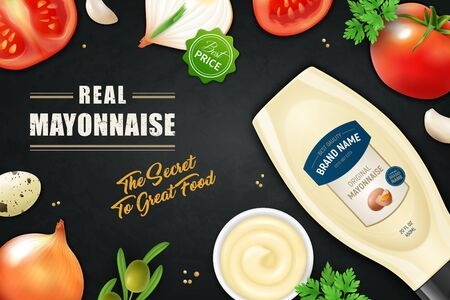 Realistic mayonnaise horizontal ads poster  with editable ornate text vegetable slices and plastic product bottle