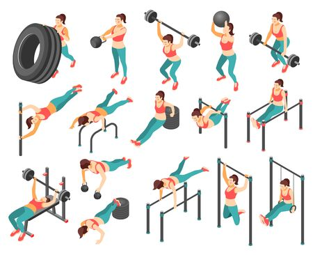 Crossfit workout isometric icons set with woman exercising with barbells tyre horizontal bars 3d isolated on white background vector illustration
