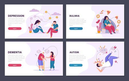 Mental disorders 2x2 design concept set of depression dementia autism bulimia flat compositions vector illustration
