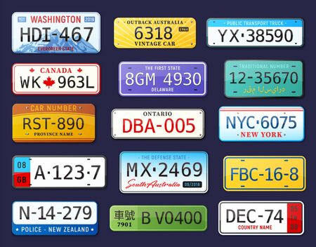 Realistic car number set with isolated colourful images of car license plates with editable text vector illustration Ilustracja