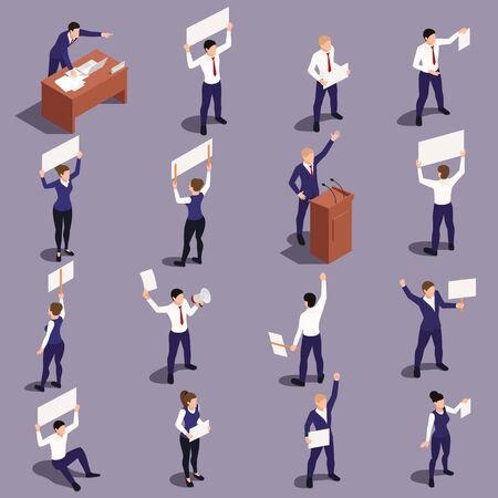 Trade labor union employees defending their rights holding banners picket signs isometric figures set gray background vector illustration