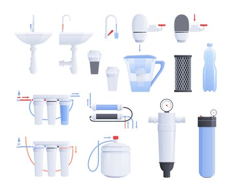 Water filter flat icon set with different type of filters for cold and hot water vector illustration 向量圖像