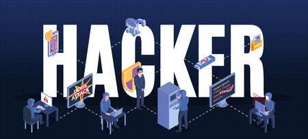 Isometric hacker composition with text and flowchart with cyber criminal characters and pieces of computer equipment vector illustration