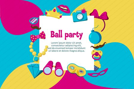 Photo booth party invitation card with ball symbols flat vector illustration