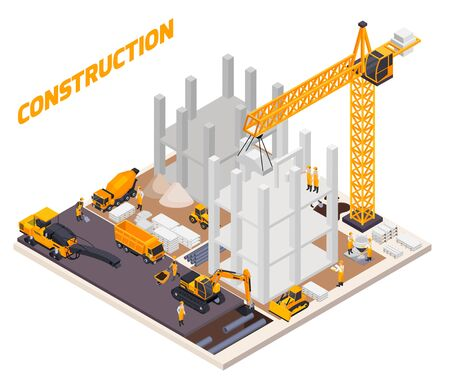 Road construction isometric composition with construction of the building and adjacent territory vector illustration Illustration