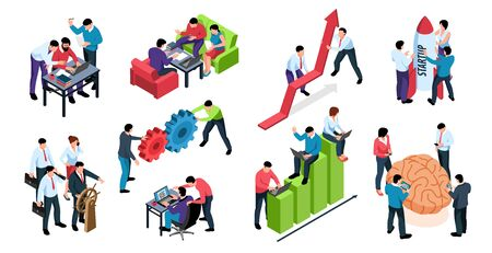 Efficient teamwork elements isometric set with brainstorm solving problems together startup common goal productivity growth vector illustration