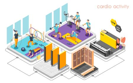Fitness center concept isometric composition with reception desk cardio activity strength training shower locker room vector illustration   Ilustrace
