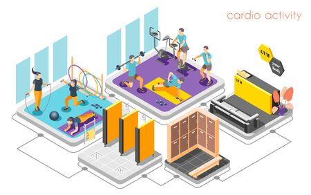 Fitness center concept isometric composition with reception desk cardio activity strength training shower locker room vector illustration   Çizim