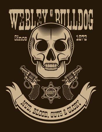 Texas cowboy vertical poster with Webley bulldog mud blood guts and glory headline vector illustration