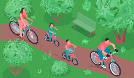 Healthy lifestyle isometric background with sports family riding bicycle in city park vector illustration Illustration