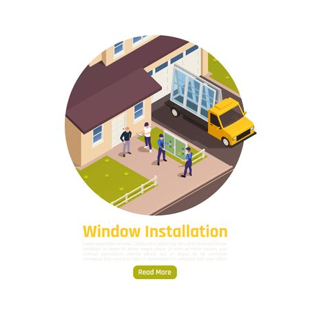 Pvc glass windows replacement installation delivery service isometric composition with panes arrival to customers house vector illustration