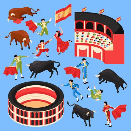 Isometric bullfight stadium set with isolated human characters of dancers toreador and arena stands with bulls vector illustration