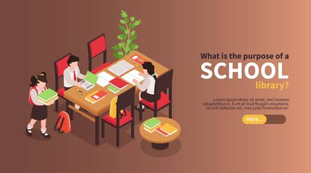 Isometric junior school horizontal banner with kids reading books at table with editable text and button vector illustration Çizim