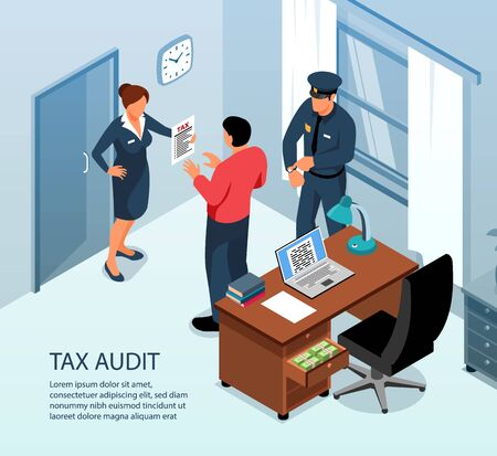 Tax audit on site inspection isometric composition with authorities examining business administration accounts records returns vector illustration
