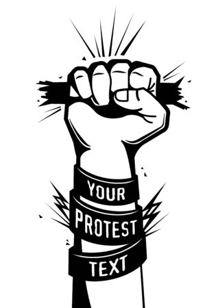 Black clenched fist male hand high in protest isolated on white background hand drawn vector illustration