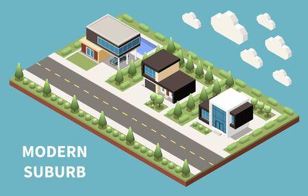 Modern suburb isometric landscape with individual houses pool and decorative trees vector illustration Ilustração