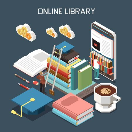 Online library isometric design concept with stack of tutorials covered with magistracy hat under cloud icons isometric vector illustration Ilustrace